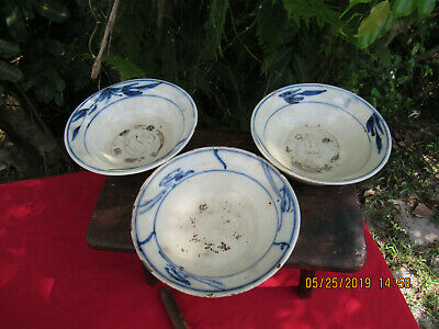 """""""3"""" Antique Chinese 17th C Porcelain Transitional/Early Qing? Ming? Bowls."""