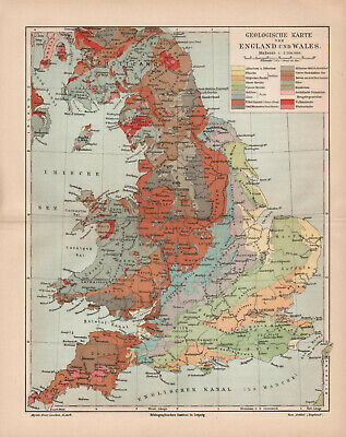 Antique map. GEOLOGICAL MAP OF ENGLAND & WALES. c 1905
