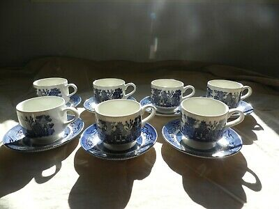 churchill china england  (7 cups & saucers -  blue willow )