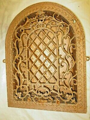 FINEST Gorgeous Cast Iron Victorian  Arched Wall Heat Register Grate w/Louvers 1