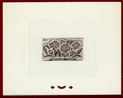 Congo 1961 #C2, Sepia Inspection Die Proof, Helicrysum m., Flower