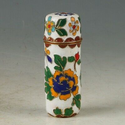 Chinese Cloisonne Handwork Carved flower Toothpick Box MY0873