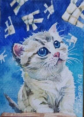 Cute Cat Original ACEO Painting Art Blue Collect Gift Card Kitten Fish Wicker