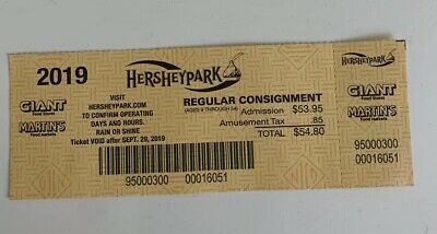 Hershey Park One Day Admission Ticket exp 9/29/19- FREE SHIPPING