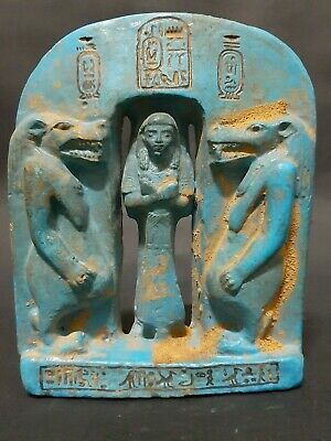 Very Rare ANCIENT EGYPTIAN ANTIQUES Faience Palque Goddess Taweret Protective BC