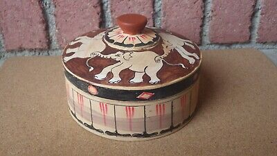 Vintage Folk Art Hand Carved & Painted Wooden Box Elephants Circus Tent