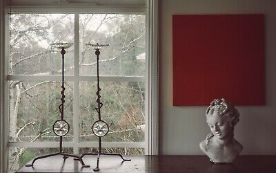 Pair of Italian hand forged and blown candle holders Modern Brutalist Decorative