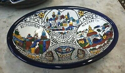 Handmade Armenian Ceramic Wall Clock Made in Holy Land Jerusalem Bethlehem 27 cm