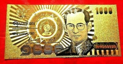 2 Thailand 1000 Baht Banknote  24K Gold Coloured Bank Note Limited