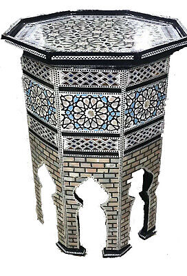 """Amazing Moroccan Hand Made Mother of Pearl Mosaic Inlay Wood tea Table 19"""" Wide"""