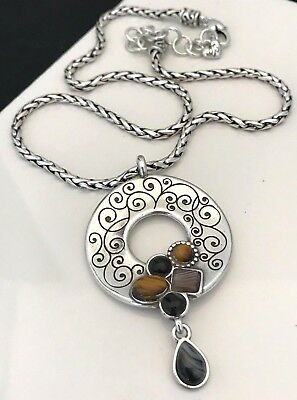 Brighton Necklace Eye of the Tiger Antique Silver Tone Ornate Natural Stone 1E