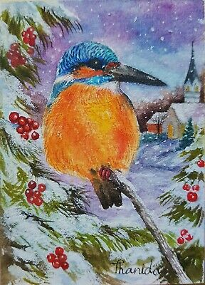 Original ACEO Painting Art Bird Nature Winter Christmas Snow Gift Card Portrait