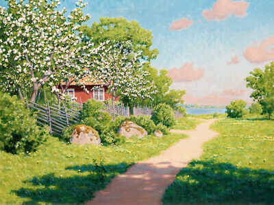 Village summer landscape Oil Painting Giclee Art Printed on canvas L2545
