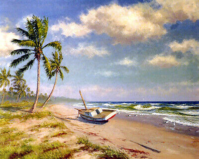 Seaside scenery Oil Painting Giclee Art Printed on canvas L2261