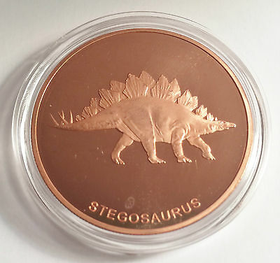 "Stegosaurus 1 OZ Pure 999.0 Copper Bullion Dinosaur Coin ""4 To Collect"""