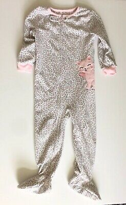 Carter's Girl Toddler Cat Footed Long Sleeve Pajama Fleece Sleeper Size 4T