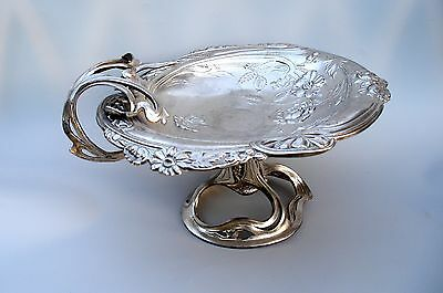 Antique Art-Nouveau Jugendstil Silver Plated Tazza Center Piece Flowers Plants