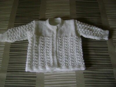 "Hand Knitted     ""White""      Matinee Jacket     3 - 6 Mths."