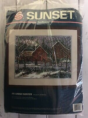 """Sunset An Amish Winter 16x12"""" Needlepoint Kit Horse Buggy Snow 1994 Dimensions"""