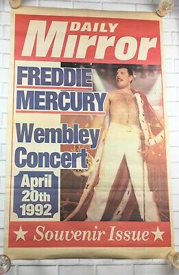 Freddie Mercury (Queen) Daily Mirror Newspaper Stand Poster Tribute Concert 1992