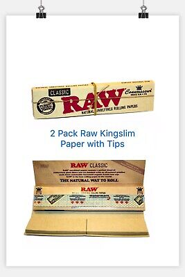 2 X Raw Organic King Slim Rolling Papers With Tips Smoking Tobacco