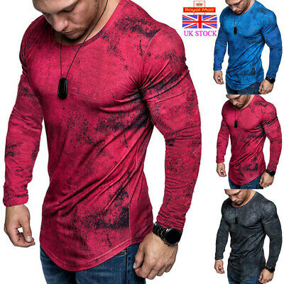 Mens Gym Slim Fit Shirt Casual O Neck Long Sleeve Muscle Tee Tops T-shirt Blouse