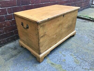 Victorian Pine Trunk / Coffee Table / Blanket Box / Storage - Rustic - Antique