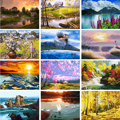 Scenery Tower DIY Paint By Number Kit Digital Oil Painting Art Home Wall Decor
