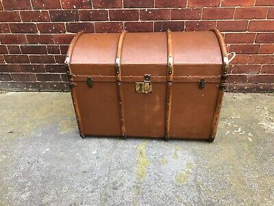 Antique Steamer Trunk - Blanket Box - Storage - Domed - Venesta Birch - VGC