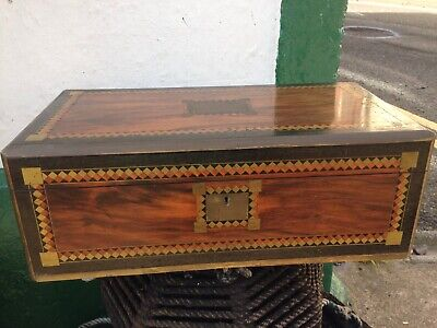 Antique Victorian Burr Walnut Brass Bound Inlaid Writing Slope Box with Inkwells