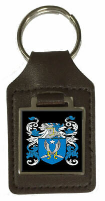 Tyler Heraldry Coat Of Arms Brown Leather Keyring Engraved