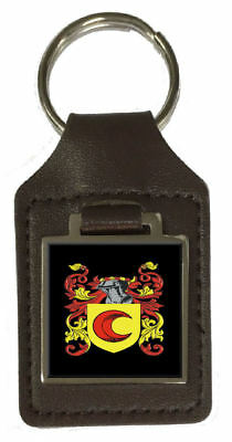 Ralph Heraldry Surname Coat Of Arms Brown Leather Keyring Engraved