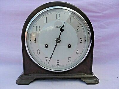 Vintage Smiths Enfield Bakelite Wind Up Chiming Mantle Clock Nice Condition Gwo