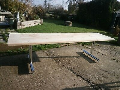 Extremely large pine refectory table 3 plank top/cleated ends