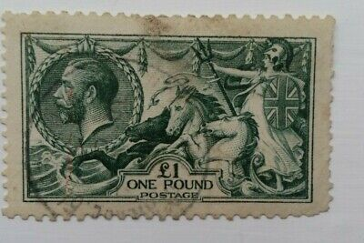 British Stamp Sg403 £1 Green Seahorses  Used