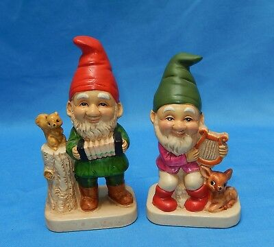 Vintage Composition Troll - Gnome Figurines ~ Musical, Harp, Accordion