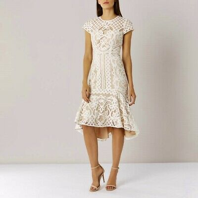 Coast Dee Dee Cream Nude Lace Hi Low Midi Dress Size 12 Nwot £159