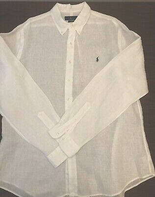 Men Polo By Ralph Lauren Casual Shirt White Linen S MEA880