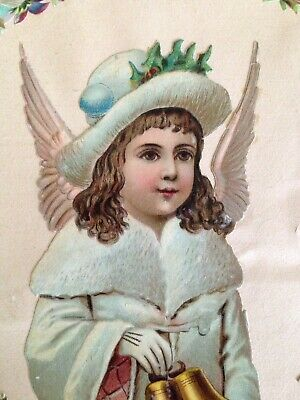 A Pair Of Antique Victorian Scrapbook Pages With Snow Angels
