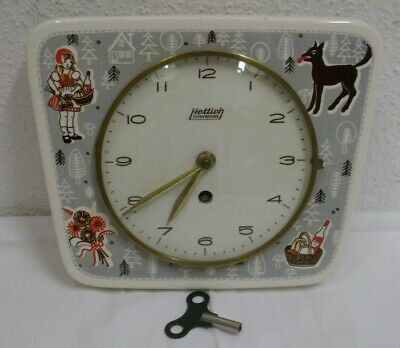 70er Clock Hettich Schwebegang Wall Mechanical Ceramics Fairytale Motifs 70s