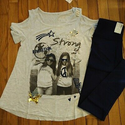 NWT Justice Girls Outfit Sequin Glitter Top/Full Length Navy Leggings Size 14 16