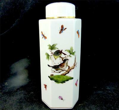 Herend Porcelain Octagonal Box Canister & Cover In Rothschild Bird  Pattern