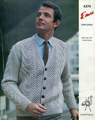 "Emu 4374 Men Cable Cardigan Aran 36-44"" Vintage Knitting Pattern"