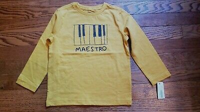 Nwt Gymboree Boy's Gold Long Sleeve T Shirt Size 3 T W/Keyboard & Maestro On Fro