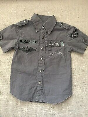 Kingsley Boys Gray Distressed Shirt 2 years