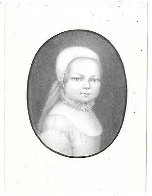 NICE Antique Folk Art Miniature Portrait Drawing of Young Girl