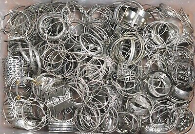 10 Lbs Metal Silver Tone Plated Estate Jewelry All BRACELETS Wearable Grab Bag