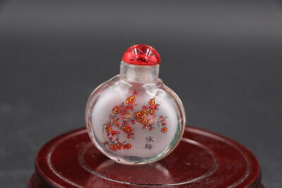 Collection Chinese Old Glass Inside Painitng Red Plum Snuff Bottle Wonderful Gif