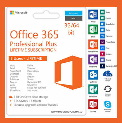Microsoft office 365 pro plus 32/064Bit 5 Users for a lifetime download