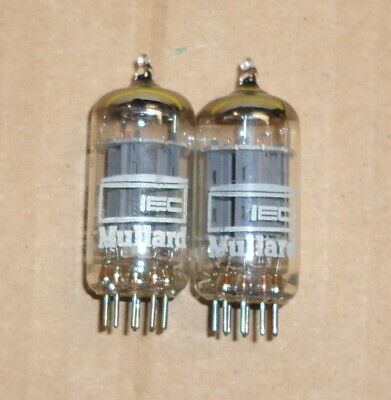12AU7 Mullard IEC Long Plates Made In England Matched Pair